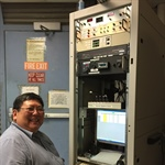 Carl Yanari on console during instrument TVac testing