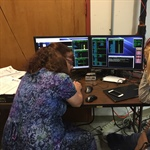 Irene Rosen and Ellen Taylor at ITOS console during EUV commanding during TVac testing