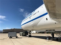 Under port wing of the L-1011 aircraft looking forward.