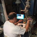 Chris Smith operating the EUV Aperture Door Closer GSE