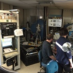 Eric Korpela and Yuzo Ishikawa performing UV alignment check on EUV after TVac